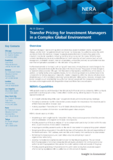 Transfer Pricing for Investment Managers in a Complex Global Environment At A Glance