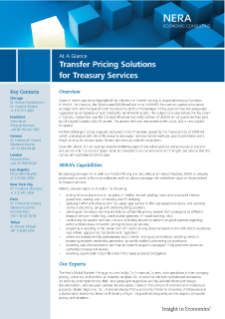 Transfer Pricing Solutions for Treasury Services At A Glance