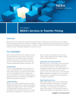 NERA's Services in Transfer Pricing At A Glance