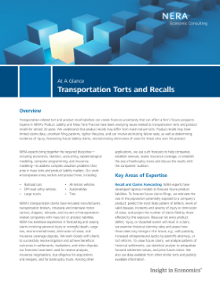 Transportation Torts and Recalls At A Glance