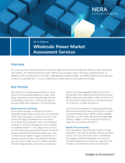 Wholesale Power Market Assessment Services At A Glance