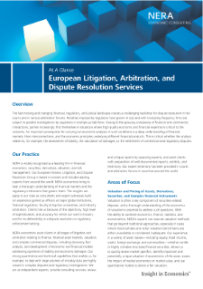 European Litigation, Arbitration, and Dispute Resolution Services At A Glance