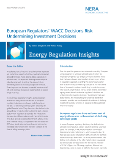 European Regulators' WACC Decisions Risk Undermining Investment Decisions