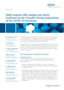 NERA Experts Offer Insight into OECD Guidance on the Transfer Pricing Implications of the COVID-19 Pandemic