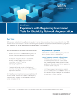 Experience with Regulatory Investment Tests for Electricity Network Augmentation At A Glance