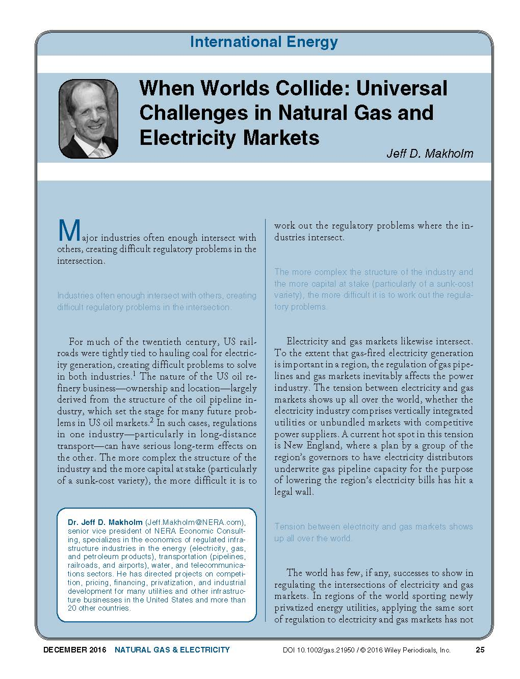 When Worlds Collide: Universal Challenges in Natural Gas and Electricity Markets