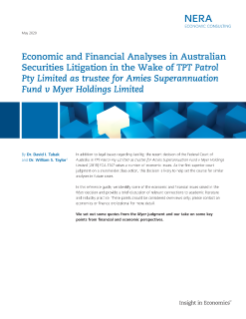 Economic and Financial Analyses in Australian Securities Litigation in the Wake of TPT Patrol Pty Limited as trustee for Amies Superannuation Fund v Myer Holdings Limited