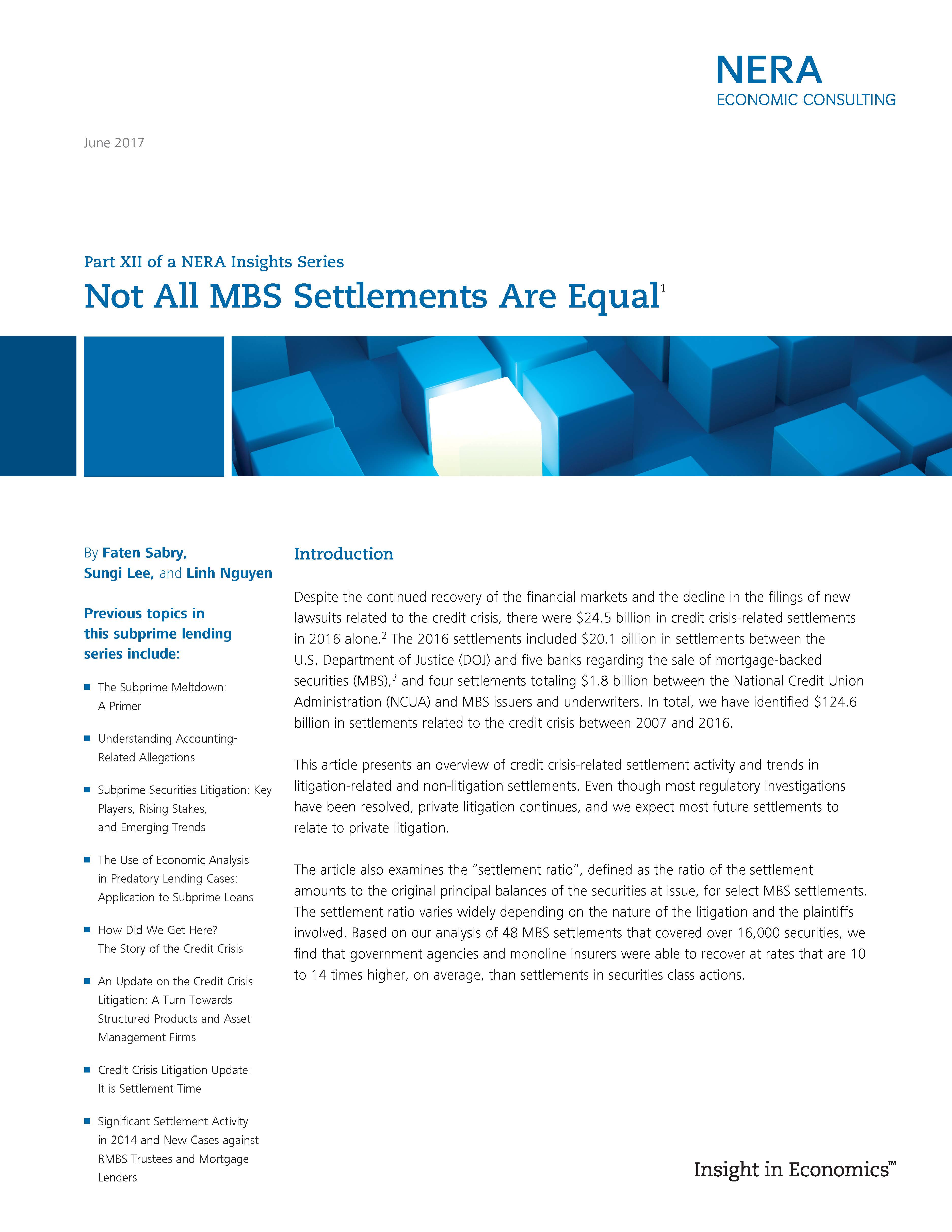Not All MBS Settlements Are Equal